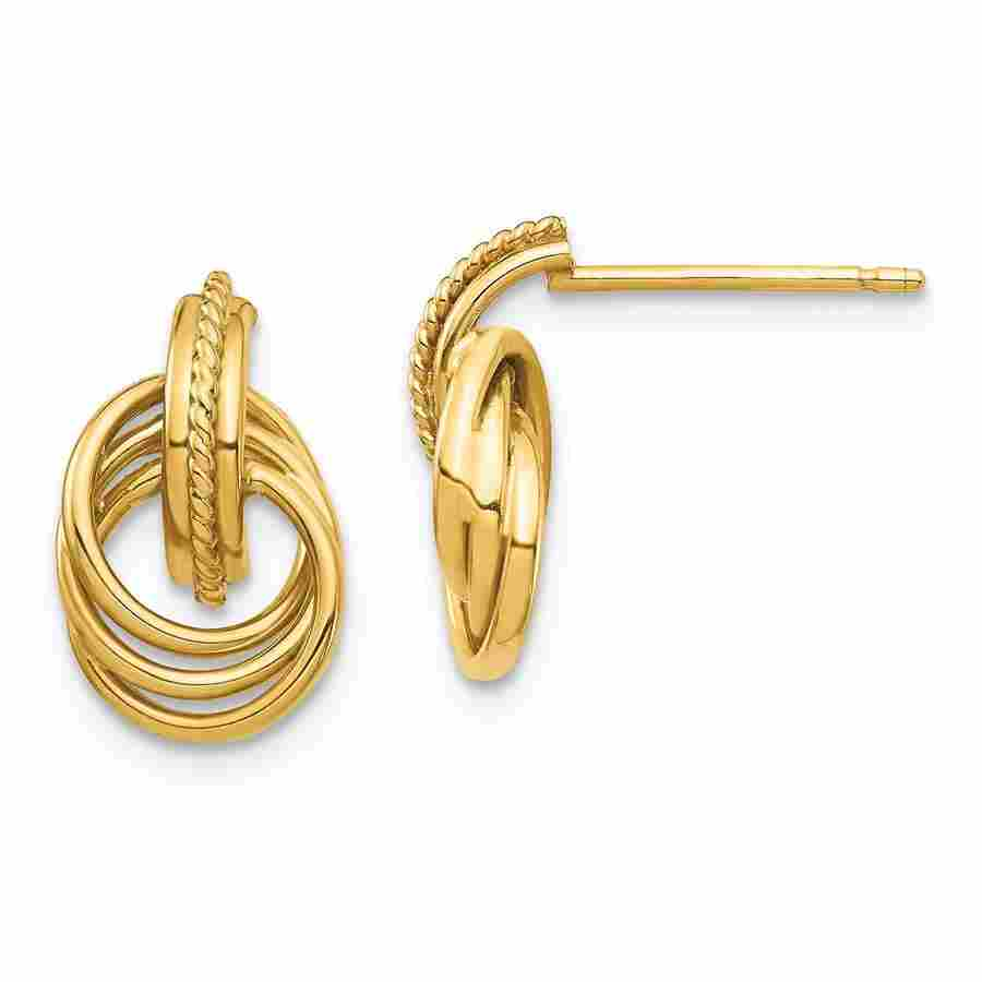 14k Yellow Gold Circle Post Earrings