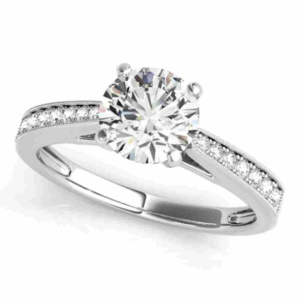 Natural 0.75 ctw Diamond Solitaire Ring 14k White Gold