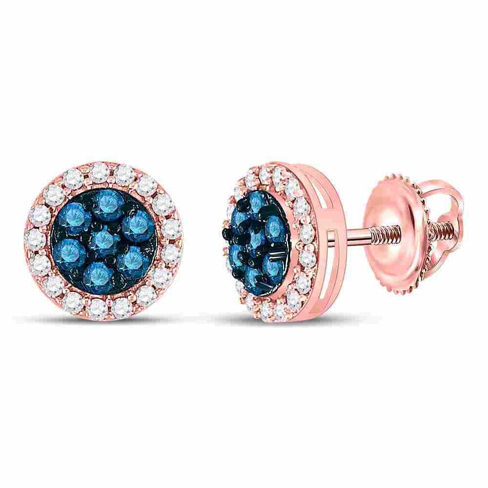 10kt Rose Gold Womens Round Blue Color Enhanced Diamond