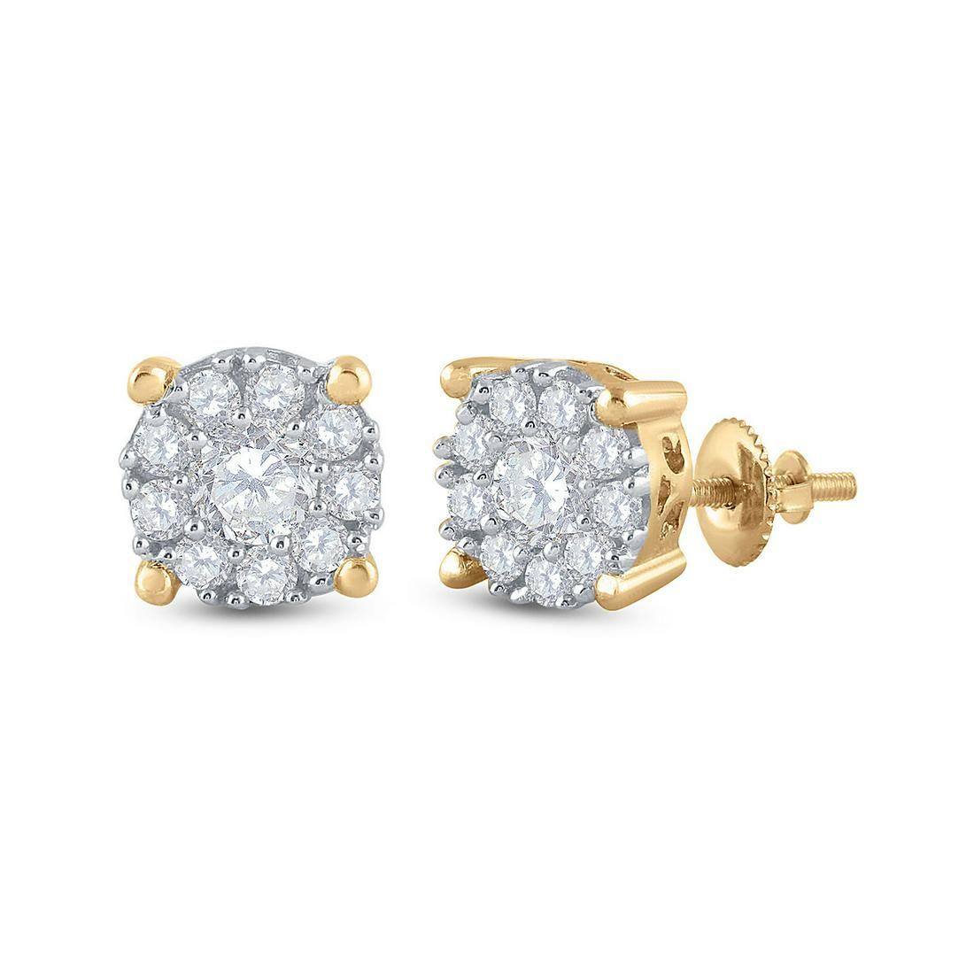 14kt Yellow Gold Womens Round Diamond Halo Earrings 3/4