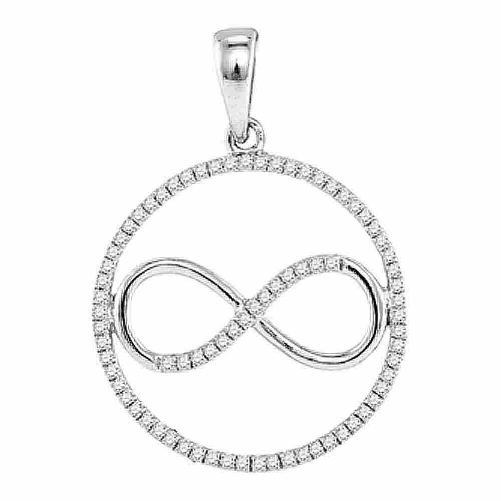10kt White Gold Womens Round Diamond Infinity Circle