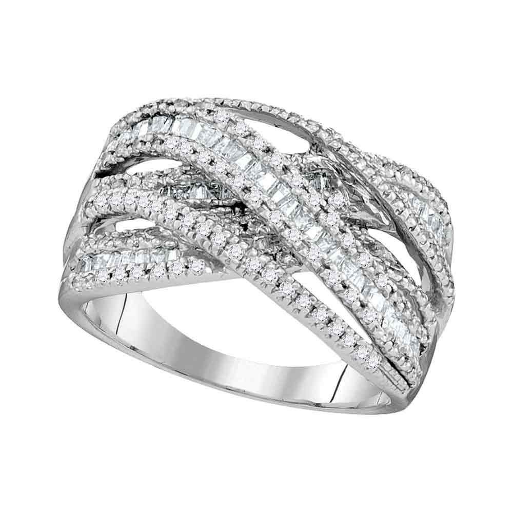 10kt White Gold Womens Round Baguette Diamond Crossover