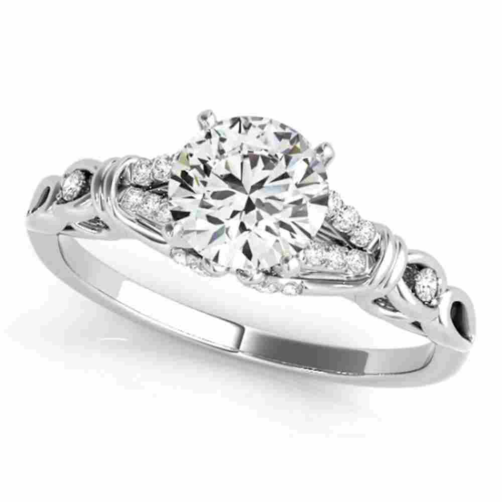Natural 0.95 ctw Diamond Solitaire Ring 14k White Gold