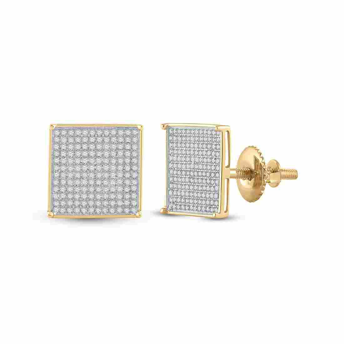 10kt Yellow Gold Womens Round Diamond Square Earrings