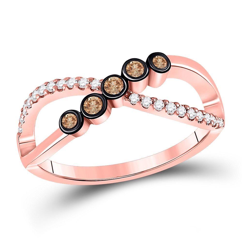 10kt Rose Gold Womens Round Brown Diamond Fashion