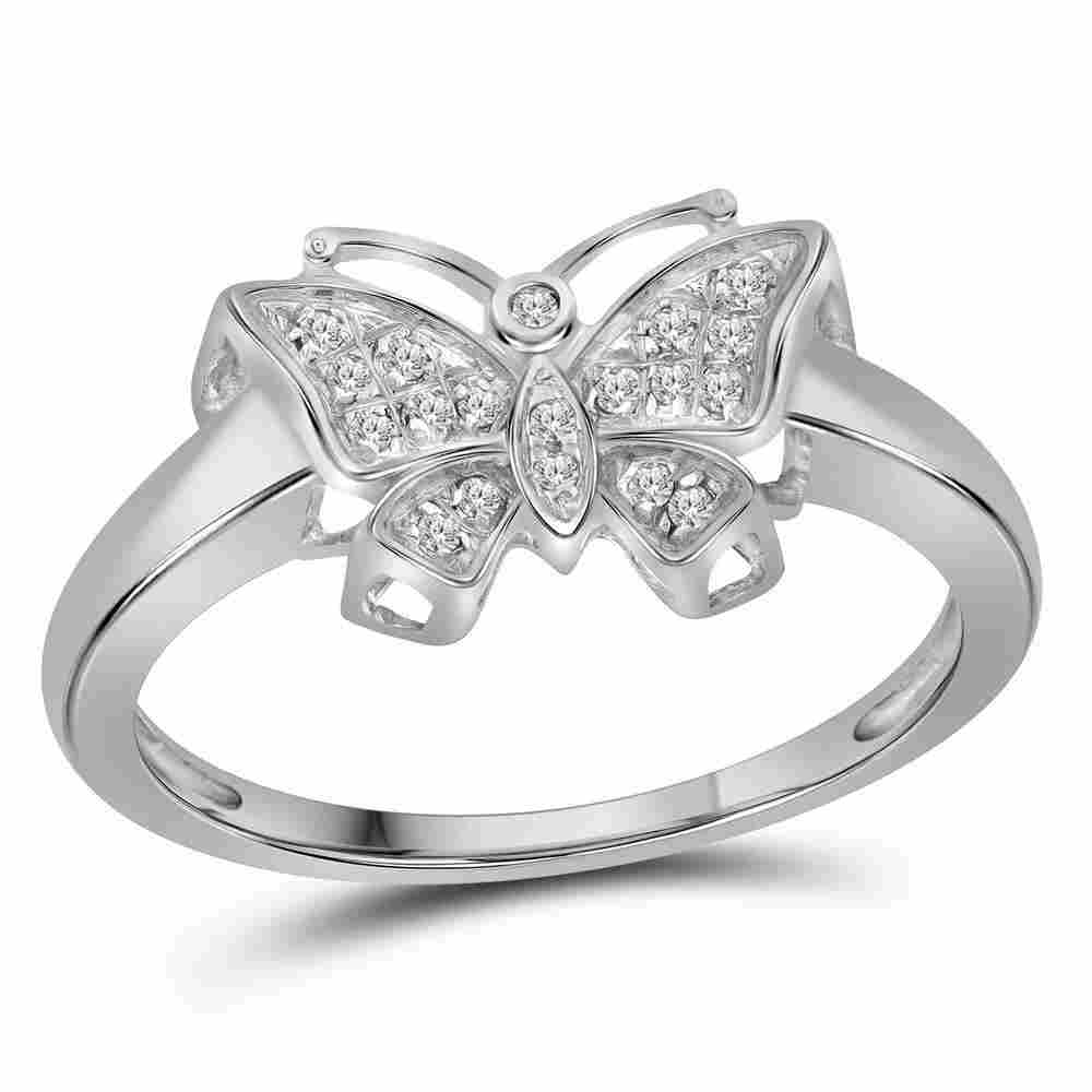 10kt White Gold Womens Round Diamond Butterfly Bug Ring