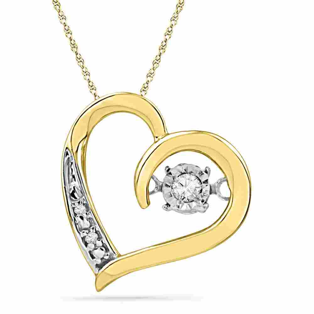 10kt Yellow Gold Womens Round Diamond Heart Twinkle