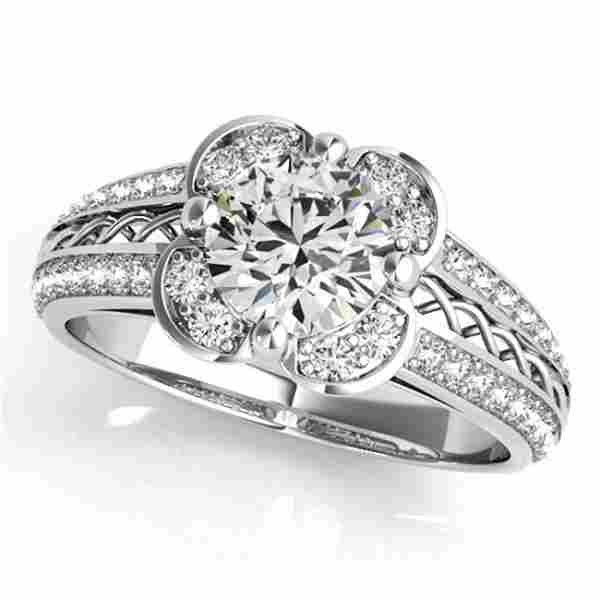 Natural 2.05 ctw Diamond Solitaire Halo Ring 14k White