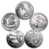 2015 5Coin 5 oz Silver ATB Set America the Beautiful