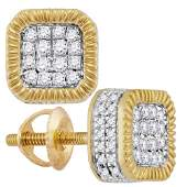10kt Yellow Gold Mens Round Diamond Cluster Fluted