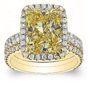 Natural 4.37 CTW Canary Yellow Radiant Cut Diamond