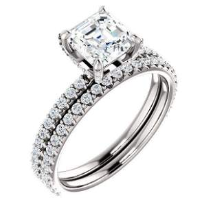 Natural 2.62 CTW Halo Asscher Cut Diamond Ring 14KT
