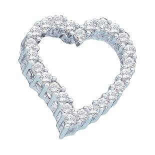 14kt White Gold Womens Round Diamond Outline Heart