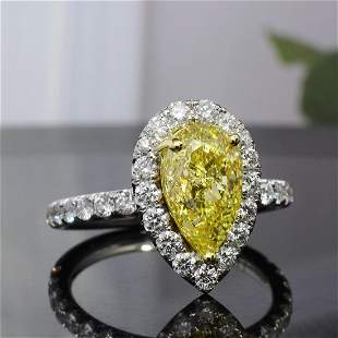 Natural 2.62 CTW Halo Canary Yellow Pear Shape Diamond