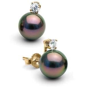 Black Tahitian Pearl and Diamond Glimmer Earrings