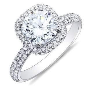 Natural 1.92 CTW Cushion Cut Halo Diamond Engagement