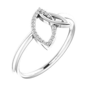 Natural 0.06 CTW Double Leaf Diamond Ring 18KT White