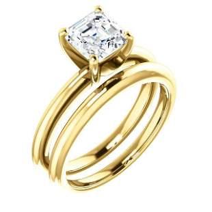 Natural 1.02 CTW Asscher Cut Diamond Engagement Ring