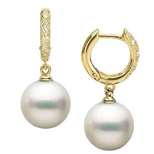 White South Sea Pearl and Large Diamond Hoop Earrings