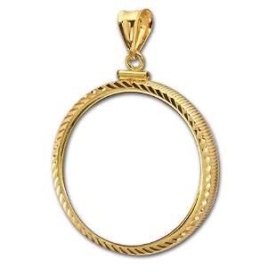 14K Gold Screw-Top-Diamond-Cut Coin Bezel - 27