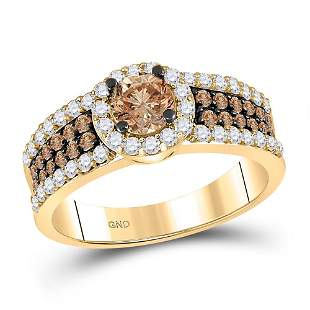 14kt Yellow Gold Round Brown Diamond Solitaire Bridal