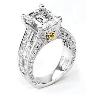 Natural 7.92 CTW Emerald Cut Diamond Engagement Ring