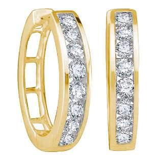 14kt Yellow Gold Womens Round Diamond Hoop Earrings 1/2