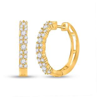 14kt Yellow Gold Womens Round Diamond Hoop Earrings 3/4