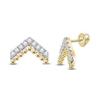 14kt Yellow Gold Womens Round Diamond Fashion Earrings