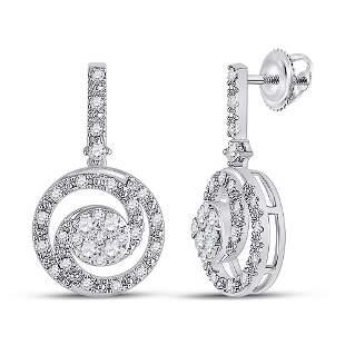 14kt White Gold Womens Round Diamond Fashion Swirl