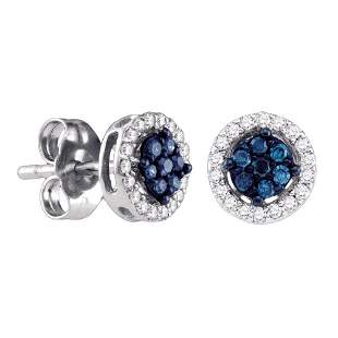 14k White Gold Womens Round Blue Color Enhanced Diamond