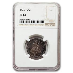 1867 Liberty Seated Quarter PF-64 NGC