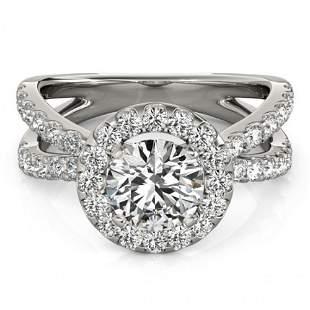 Natural 1.76 ctw Diamond Halo Ring 14k White Gold
