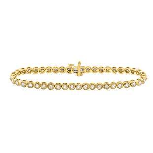 14kt Yellow Gold Womens Round Diamond Tennis Bracelet 2