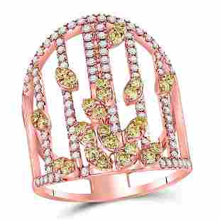 14kt Rose Gold Womens Round Yellow Diamond Fashion