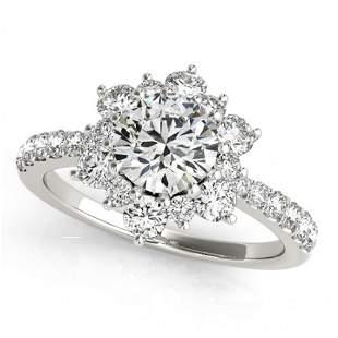 Natural 1.09 ctw Diamond Halo Ring 14k White Gold