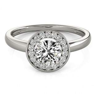 Natural 1.15 ctw Diamond Halo Ring 14k White Gold