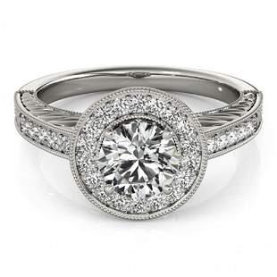 Natural 0.81 ctw Diamond Halo Ring 14k White Gold