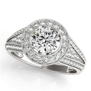 Natural 1.45 ctw Diamond Halo Ring 14k White Gold