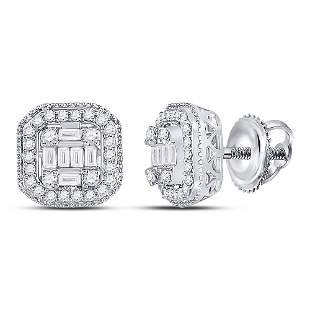 14kt White Gold Womens Baguette Diamond Fashion Cluster