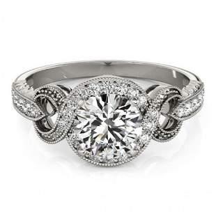 Natural 1.05 ctw Diamond Halo Ring 14k White Gold