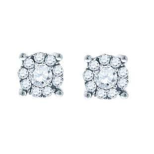 14kt White Gold Womens Round Diamond Halo Earrings 1