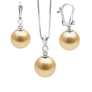 Golden South Sea Pearl and Diamond Bezel Pendant and