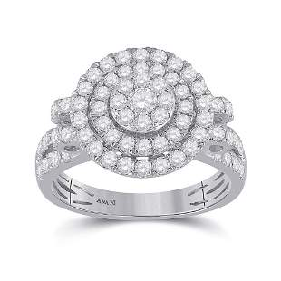 14kt White Gold Womens Round Diamond Circle Cluster