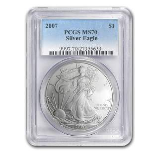 2007 Silver American Eagle MS-70 PCGS (Registry Set)