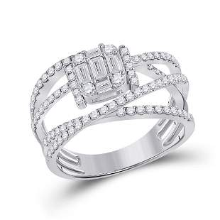 14kt White Gold Womens Baguette Diamond Fashion Ring 1