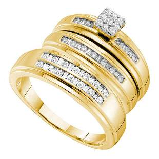 14kt Yellow Gold His Hers Round Diamond Cluster