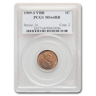 1909-S VDB Lincoln Cent MS-64 PCGS (Red/Brown)