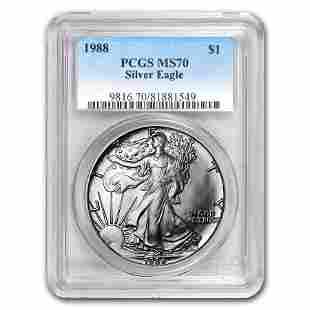 1988 Silver American Eagle MS-70 PCGS (Registry Set)