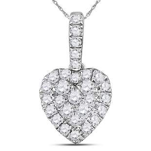 14kt White Gold Womens Round Diamond Heart Pendant 1/3